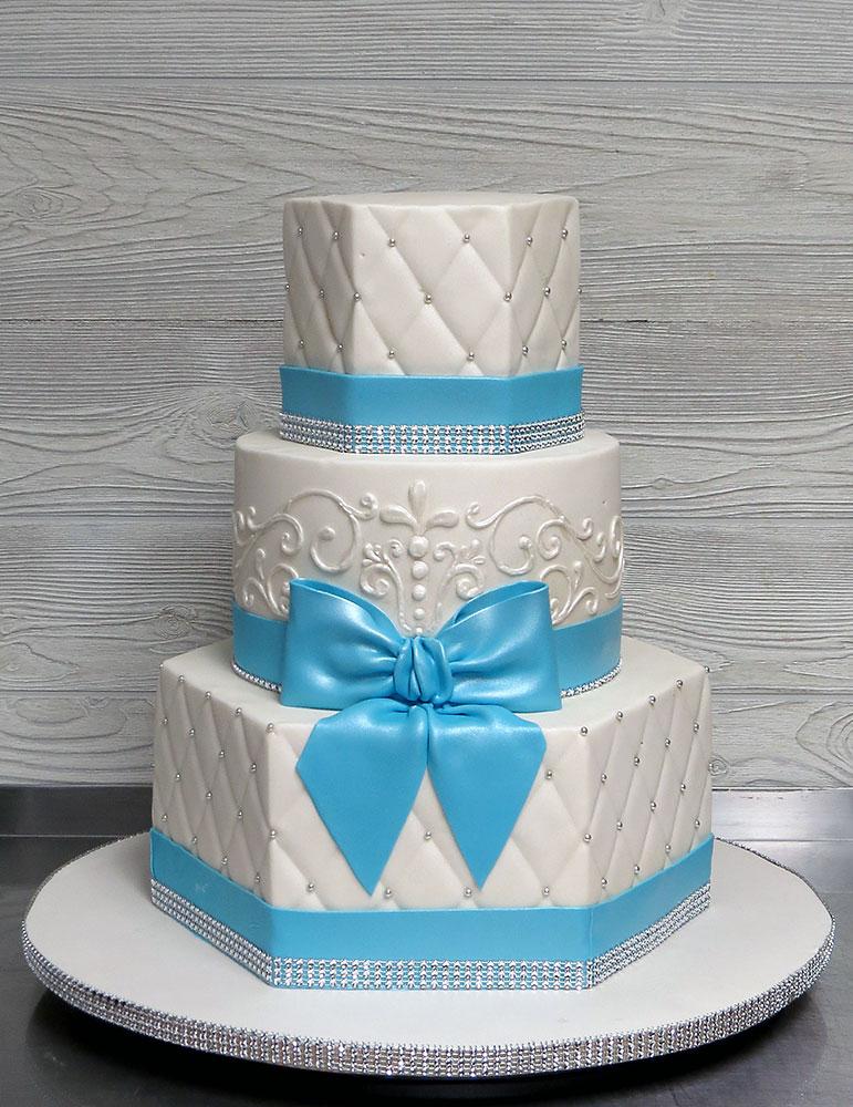 Aqua Blue Silver Bling Wedding Cake