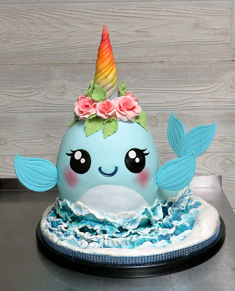 3-D Narwhal Whale Cake