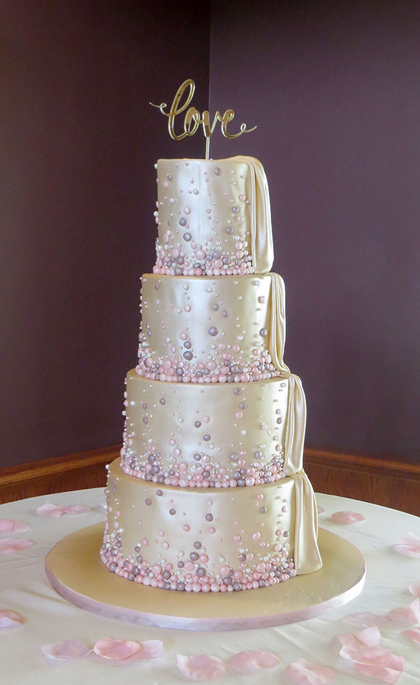 Pink & Gold Bubbles Pearls Wedding Cake