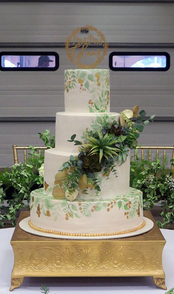 Succulent Greenery Gold Wedding Cake