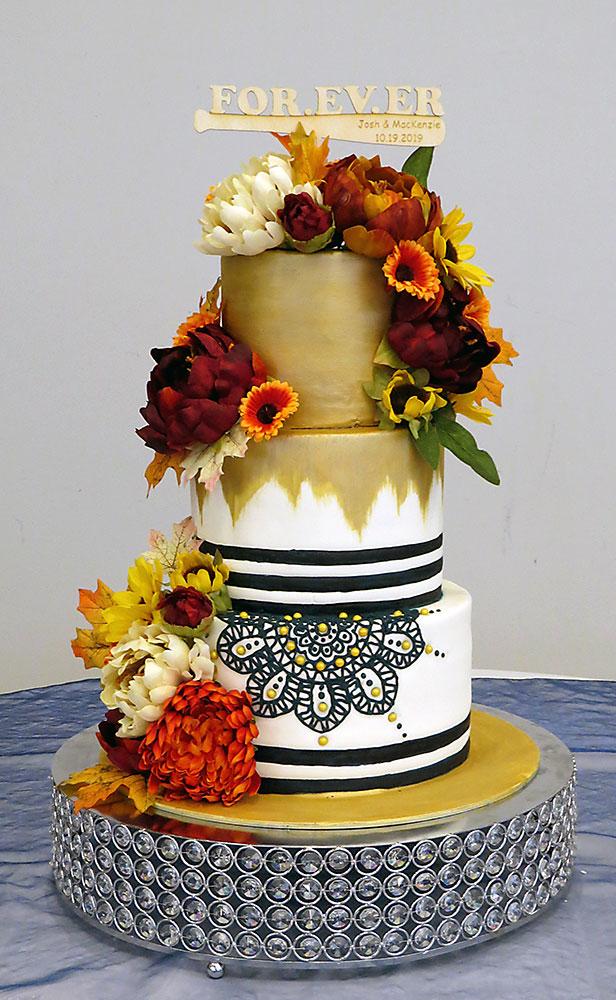 Gold Navy Fall Flowers Wedding Cake