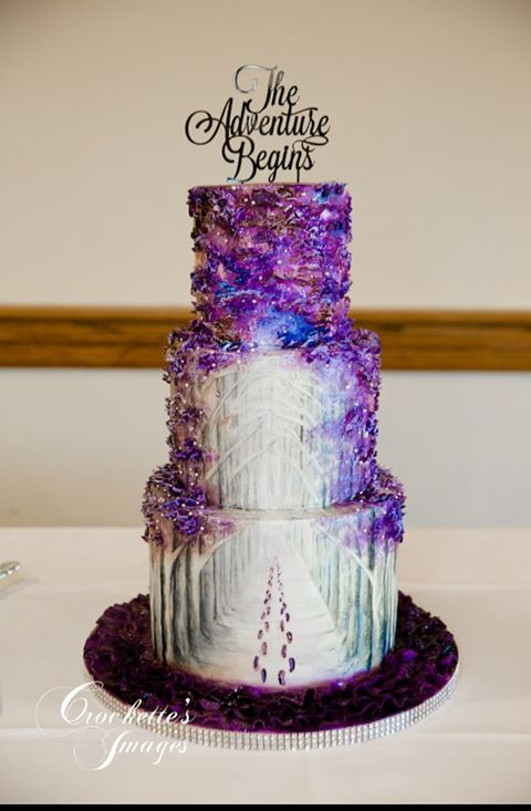 Purple Forest Path Wedding Cake