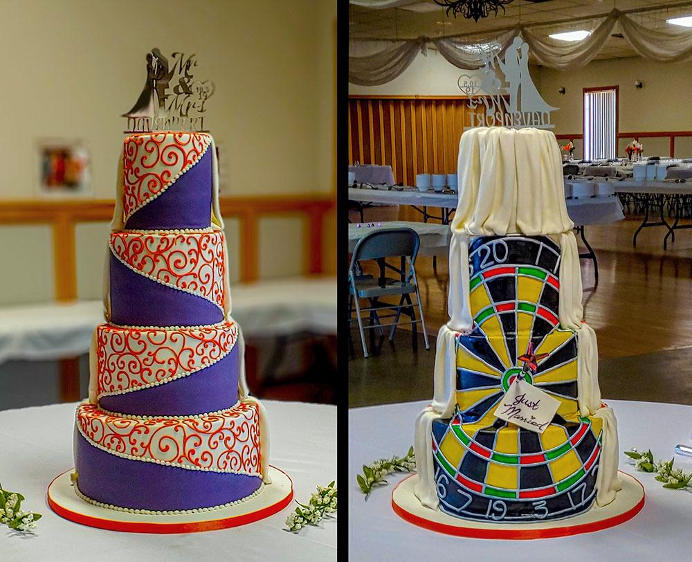Purple Orange Dartboard Wedding Cake Duo