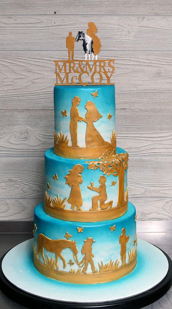 Turquoise Gold Wedding Cake