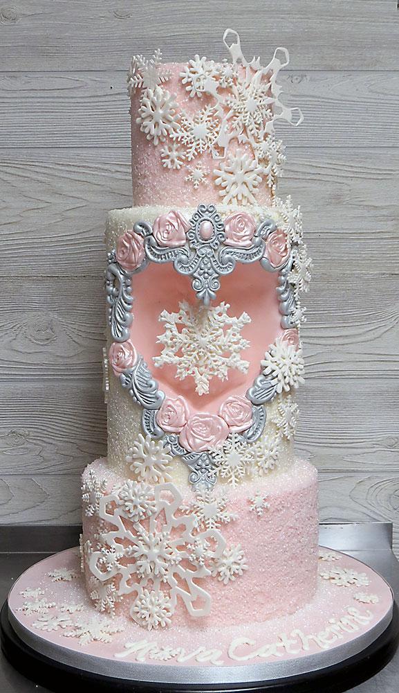 Pink Snowflake Winter Cake