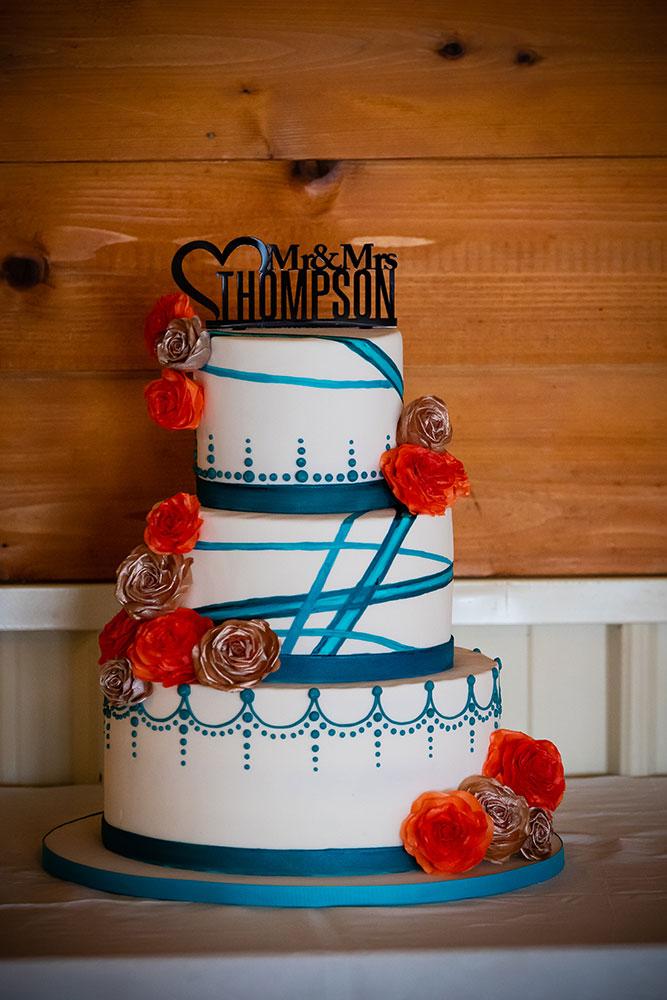 Teal Orange Modern Wedding Cake