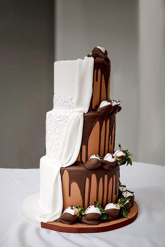 Chocolate Drip Strawberries Surprise Wedding Cake Duo