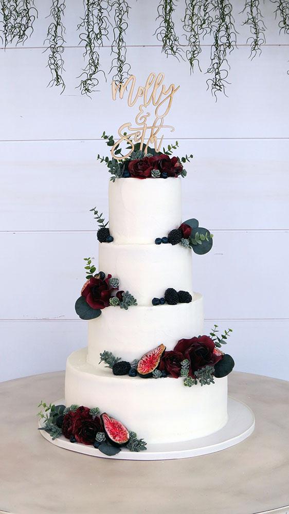 Burgundy Navy Wedding Cake