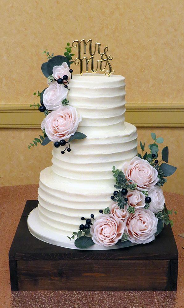 Blush Roses Navy Buttercream Wedding Cake