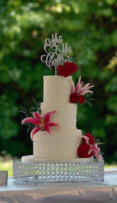Roses Stargazer Lilies Wedding Cake