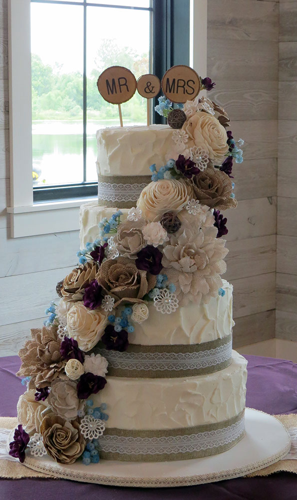 Burlap Lace Purple Teal Wedding Cake