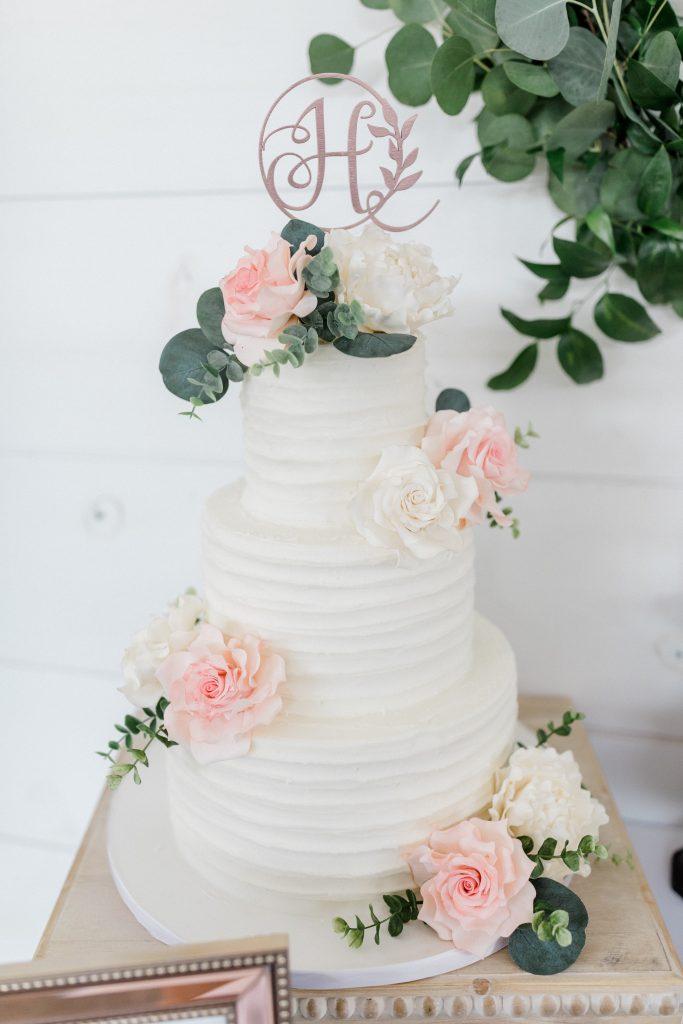 White Wedding Cake w Edible Paper Flowers