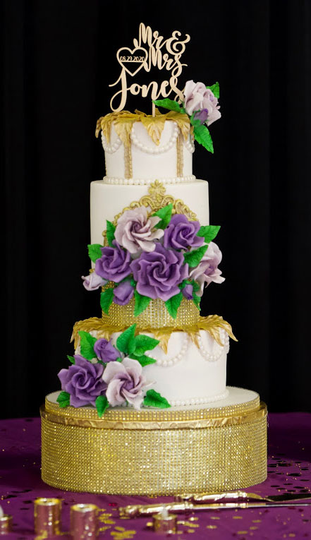 Purple Roses Gold Bling Wedding Cake