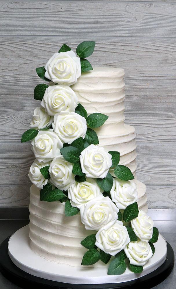 White Roses Wedding Cake
