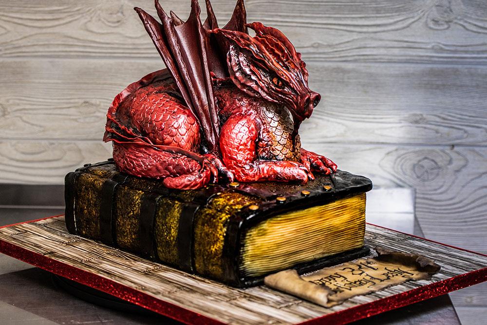 3-D Dragon Book Cake