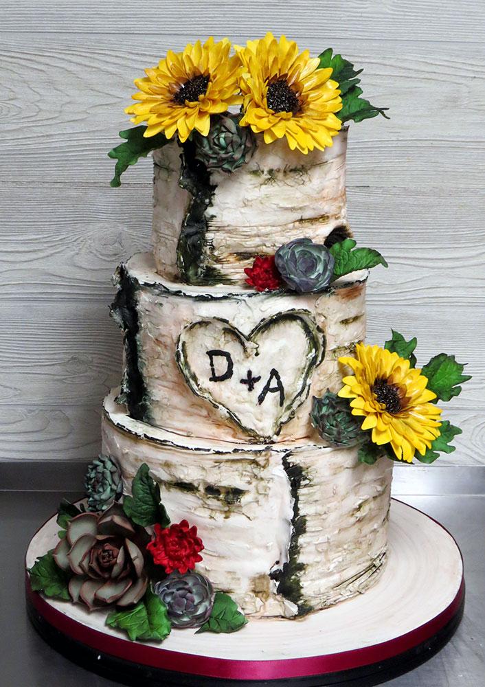 Birch Bark Sunflowers Succulents Wedding Cake