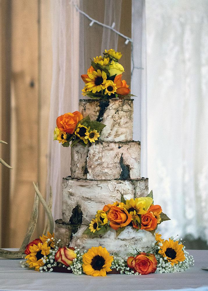 Rustic Birch Bark Sunflowers Wedding Cake