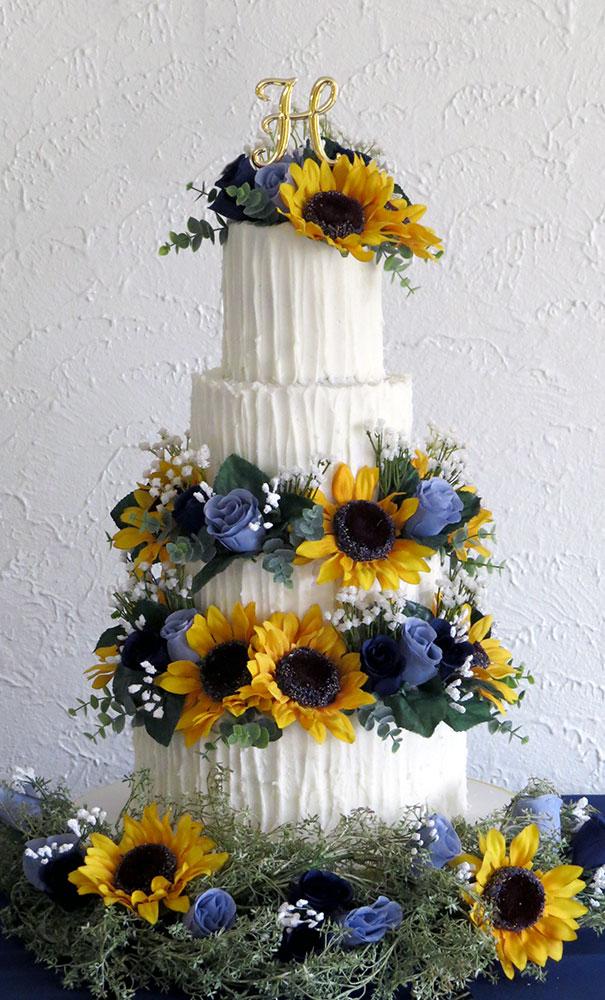 Sunflowers Blue Roses Buttercream Wedding Cake