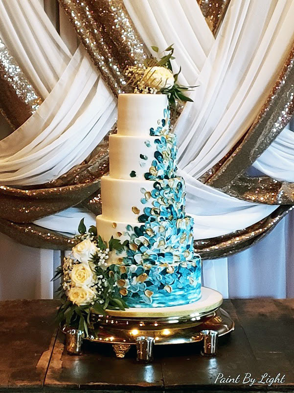 Blue Painted Buttercream Confetti Cascade Wedding Cake