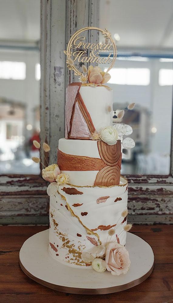 Bohemian Copper Fall Wedding Cake