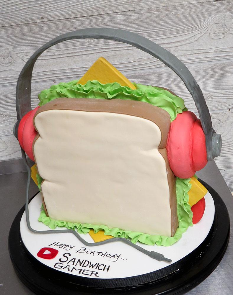3D Sandwich Wearing Headphones Cake