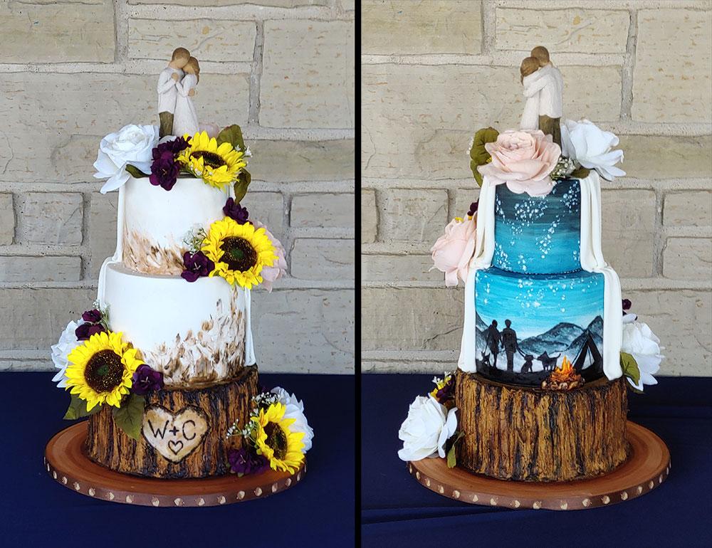 Rustic Tree Bark Sunflowers Camping Wedding Cake Duo