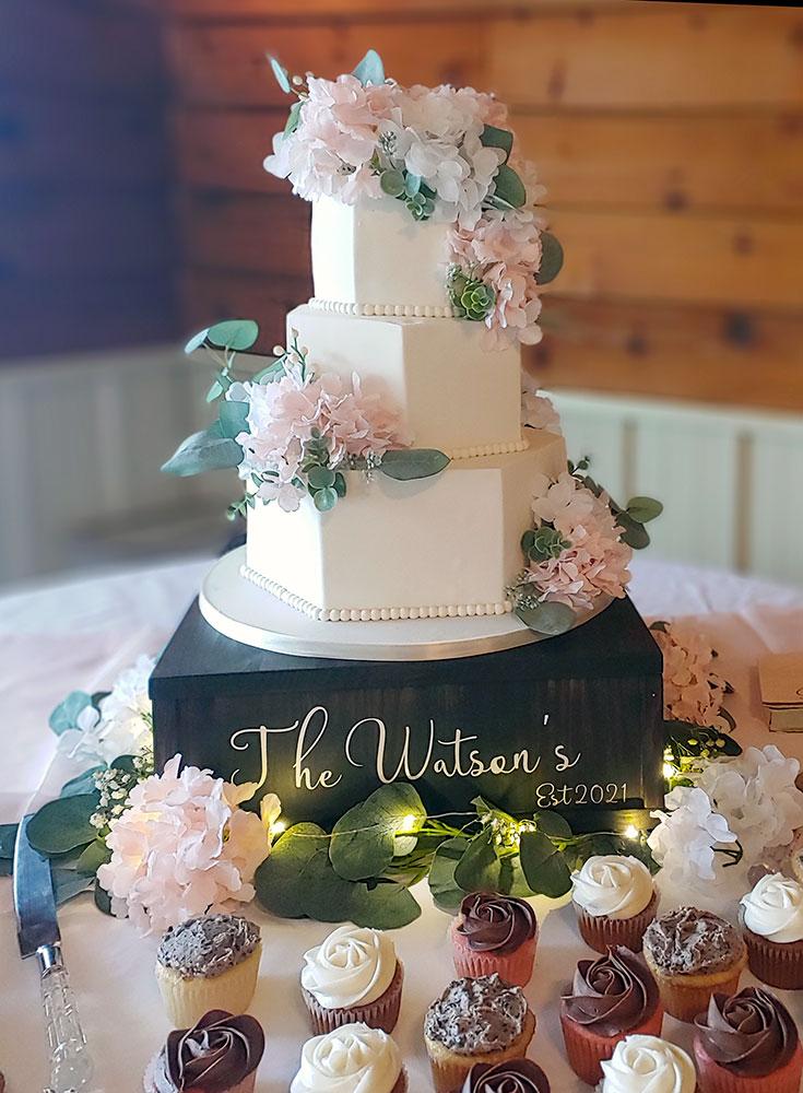 Hexagon Ivory Blush Eucalyptus Wedding Cake