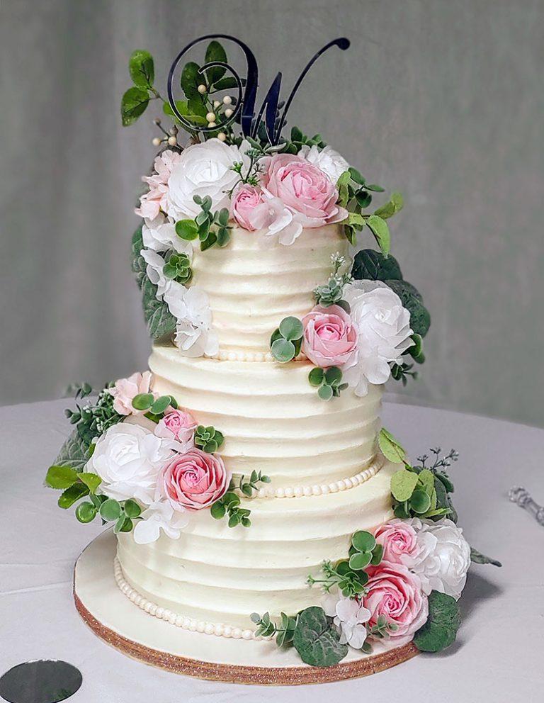 Textured Buttercream Blush Ivory Wedding Cake